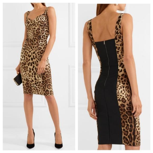 207a18d6cfb5 Dolce & Gabbana Dresses | Dolce Gabbana Paneled Leopard Cady Dress ...